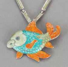 Margot de Taxco Silver Enamel Necklace and Pendant-Brooch Colorful Fish Design