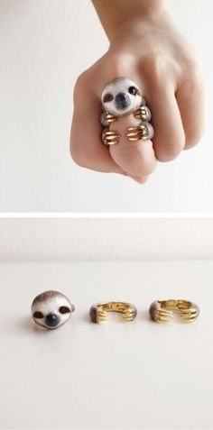 Animal jewelry by Mary Lou // animal lover products // animal rings // sloths