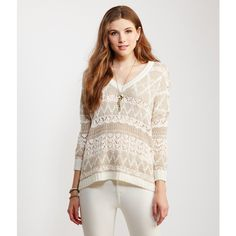Aeropostale Sheer Oversized Sparkle Sweater ($30) ❤ liked on Polyvore featuring tops, sweaters, eggnog, white top, camisole tops, sheer cami, sheer sweater and sheer top