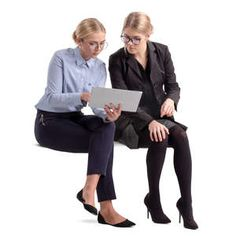 two businesswomen sitting and looking at some papers People Cutout, Cut Out People, Person Png, Render People, Body Gestures, People Png, People Figures, Sitting Poses, Figure Photo
