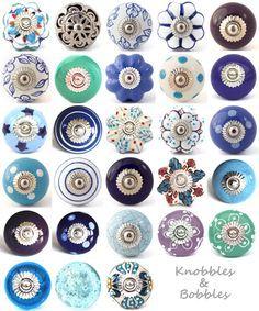 Blue purple ceramic knobs drawer pulls cupboard door knobs porcelain china K&B More