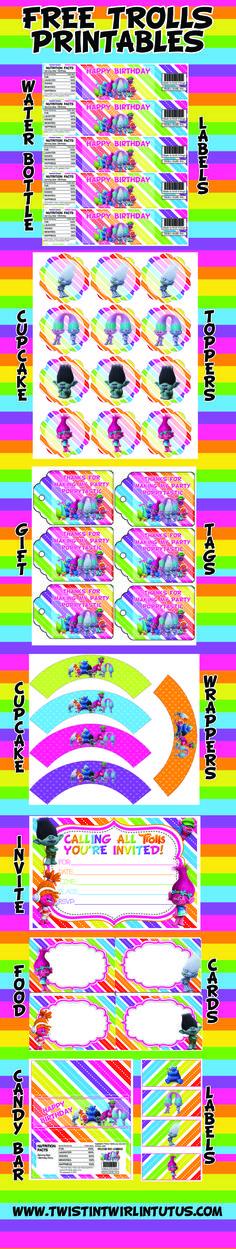 FREE Trolls Printable with any Trolls Birthday Apparel purchase   Trolls Birthday Ideas   Troll Birthday Party Ideas   Trolls Invitations   Trolls Water Bottle Labels   Trolls Cupcake Toppers   Trolls Cupcake Wrappers   Trolls Candy Bar Wrappers   Trolls Placecards