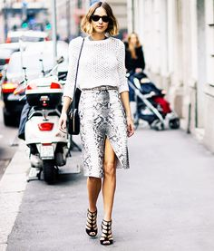 Try a printed envelope skirt with a crop top this season to elongate your body