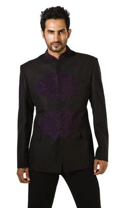 Black Linen Nehru Jacket | Manoviraj Khosla | Indian designer