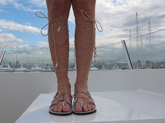 High knee Gladiator sandals Silver Tie up by GreekChicHandmades