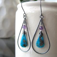 Turquoise and sterling silver teardrop hoop earrings - ready to ship