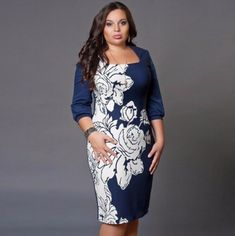 2016 Plus Size Women Summer Knee Length Dress Casual Sheath Patchwork Short O-neck Vintage Dress Fat Fashion Big Size (China (Mainland)) Sexy Dresses, Plus Size Bodycon Dresses, Casual Summer Dresses, Women's Fashion Dresses, Dress Casual, Vestidos Vintage, Vestidos Sexy, Trendy Plus Size Clothing, Plus Size Outfits
