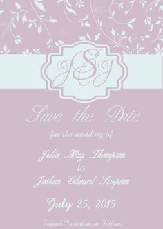 DIY Personalized Monogram Wedding Save the Date Card Floral Blue and Purple by Laughs and Lollies www.etsy.com/shop/laughsandlollies