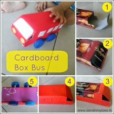 How to make a bus from a cardboard biscuit box #toddleractivities #toddlertales #recycledcrafts