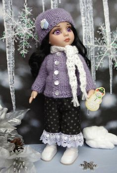 """Lavender Frost Handknit Sweater Hat Scarf Pants for Patsy Annestelle 10""""Doll 
