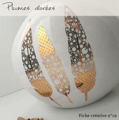 Plumes dorées - Fiche créative peinture sur porcelaine