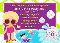 Disco Dance Pool Party Birthday Invitation by Cutie Patootie Creations www.cutiepatootiecreations.com
