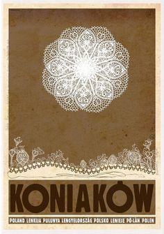 Koniakow Koniakowskie koronki Koniakow - city of Famous Polish traditional Lace Check also other posters from PLAKAT-POLSKA series Original Polish poster designer: Rysza