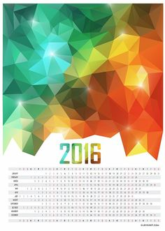 Calendar 2016 Printable. A3, A4, Letter size. Office calendar, Geometric… Office Calendar, 2016 Calendar, Letter Size, A3, Printables, Posters, Lettering, Abstract, Print Templates