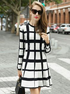 Black Plaid Roman Knit Flared Dress for Women  $31.99