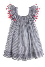 Cottom Dress with zipper - I love the fringe on the sleeves!