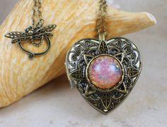 Pink Glass Opal Music Box Locket, Photo Locket, Music Box Locket, Music box pendant, Heart Shaped Locket, Music Box Necklace