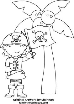 awesome Pirate Parrot Cartoon Coloring Page