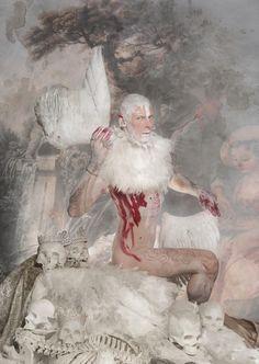 Self portrait Jim Lyngvild. Moder Viking, angel whiteout wing fashion. Hasselblad
