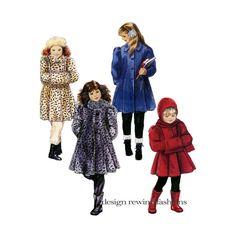GIRLS' COAT PATTERN Faux Fur Trapeze Coat Hooded Scarf & Muff Pattern Pattern McCalls 5085 Size 7 8 10 UNCuT 1990s Girls Sewing Patterns by DesignRewindFashions on Etsy