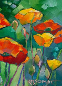 KMSchmidt ACEO Ltd Ed Print, RED GARDEN POPPIES ABSTRACT BRIGHT FLORAL POPPY ART