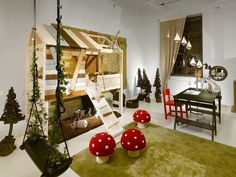 "OMG if you could get a used loft bed for cheap (kijiji) you could do a cool ""tree"" house or ""doll"" house like this idea"