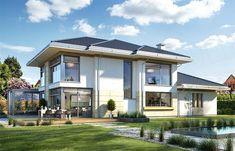 Zdjęcie projektu Dom z widokiem 6 B WAH1867 Modern Architecture House, Modern House Design, Architecture Design, Beautiful House Plans, Beautiful Homes, Style At Home, Luxury House Plans, Architect House, Home Fashion