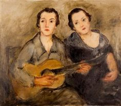 Two Girls with Guitars, Nikos Nikolaou Greece Painting, New Wife, Famous Words, Post Impressionism, 10 Picture, Greek Art, Art Database, Short Film, Fine Art