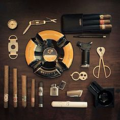 Gentleman style - accouterments for the refined gentlemen's pause for a celebratory Cigar.