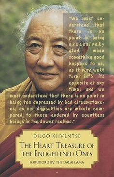 """""""We must understand that there is no point in being excessively glad when something good happens to us, as it may well turn into its opposite at any time; and we must understand that there is no point in being too depressed by bad circumstances, as our difficulties are minute compared to those endured by countless beings in the lower realms."""" from """"The Heart Treasure of the Enlightened Ones: The Practice of View, Meditation, and Action"""" by Dilgo Khyentse Rinpoche, Patrul Rinpoche, The Dalai…"""