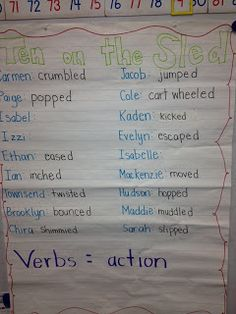 Sarah's First Grade Snippets: Verb Craftivity freebie- Ten on a Sled