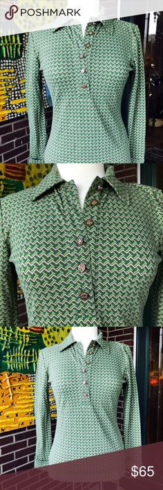 Tory Burch Gorgeous  Printed Polo Shirt Lovely print polo shirt from Tory Burch. Half button and with collar. Button on each cuff. Materials are 93% cotton and 7% spandex. Like new condition. Tory Burch Tops