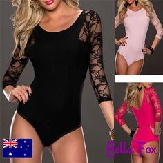 Sexy Bodice Lace Body Suit Black Teddy Pink Leotard Underwear Sexy Lingerie Top #DateBoyfriendNightwearDinnerEvening