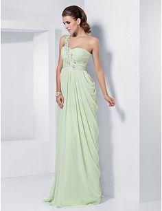 Sheath/Column One Shoulder Sweetheart Floor-length Chiffon Evening Dress - USD $ 179.99