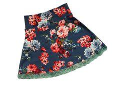 Bloem - Heerlijk tricot rokje van katoenen tricot met groen kantje