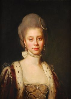 The Princess Charlotte of Mecklenburg-Strelitz (1744-1818). She was a daughter of The Duke Carl and his wife, The Princess Elizabeth of Saxe-Hildburghausen. She was Queen of Great Britain (1761-1800) of the United Kingdom (1800-1818) of Hanover (1814-1818) as the wife of King George III. Her surviving children were Kings George IV, William IV, and Ernst August I, The Princes Frederick, Edward, Augustus, Adolphus, and  The Princesses Charlotte, Augusta, Elizabeth, Mary, Sophia, & Amelia.