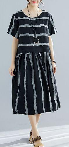 608366c4c7 Bohemian black striped Cotton tunics for women Fine Tutorials o neck  pockets oversized Summer Dresses