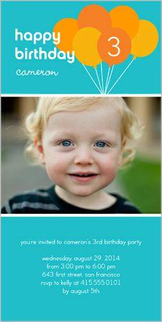 Bouncy Balloons 4x8 Photo Card By Shutterfly Baby Boy 1st Birthday Invitations