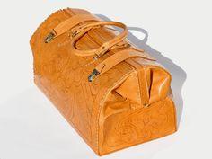 Huge Vintage Tooled Leather Travel Bag by MaevenOnEtsy on Etsy, $375.00
