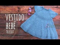 Vestido Dos Agujas para Bebe de 0 a 3 meses / Tutorial | Crochet y Dos agujas