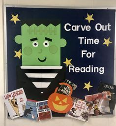 Another library bulletin board based on a card design. I love the Frankenstein and book suggestions!
