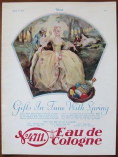 4711, Eau de Cologne, 1929, Vintage, Anzeige, original, Parfum, Kosmetik, Englisch, Werbung, kostenloser Versand, Papier, Ephemera