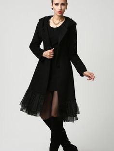 Womens Black Wool Midi Coat with Hood and Tulle Hem by xiaolizi