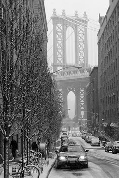 snowing in Brooklyn NYC
