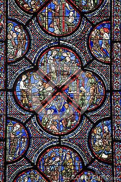 Photo about Chartres (Eure-et-Loir, Centre, France) - Interior of the cathedral in gothic style: stained glass. Image of religious, nobody, chartres - 26671180 Medieval Stained Glass, Stained Glass Church, Stained Glass Angel, Stained Glass Windows, Leaded Glass, Mosaic Glass, Window Glass, L'art Du Vitrail, La Salette