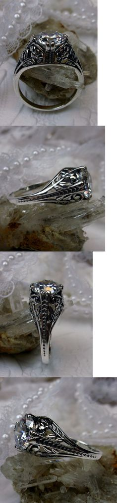 Rings 52603: Art Deco Floral White Gem Sterling Silver Filigree Ring Size: {Made To Order} BUY IT NOW ONLY: $34.0