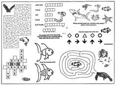 Children\'s Activity Menu Placemats, 4 Color Front, black and white ...