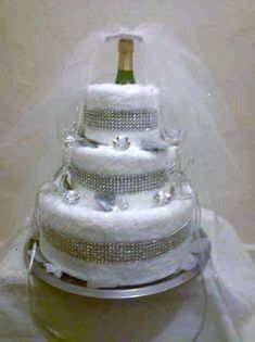 Bridal Shower 3 Tier Diamond Towel Cake by PittsburghsBBB on Etsy, $115.00
