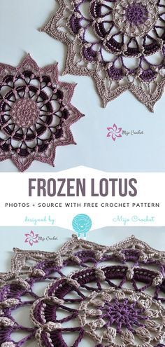 Frozen Lotus Free Crochet Pattern - - Is it a star, a snowflake, a flower? It can be whatever you want, but most importantly, it's a beautiful decoration for your home. Frozen Lotus is a. Motif Mandala Crochet, Crochet Motifs, Thread Crochet, Crochet Crafts, Crochet Projects, Crochet Doilies, Crochet Dreamcatcher Pattern Free, Mandala Rug, Crochet Afghans