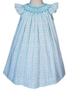 Girls Summer Smocked Dress Gianna Floral Turquoise